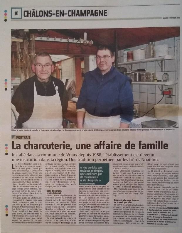 Frères Noaillon - Charcuterie Vraux - Février 2016